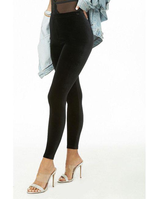 Lyst Forever 21 High Rise Velvet Pants In Black