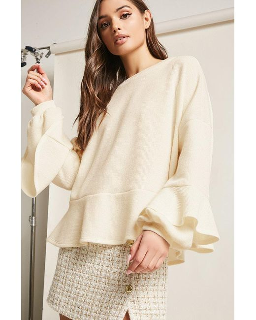 Forever 21 - White Flounce-sleeve Knit Top - Lyst