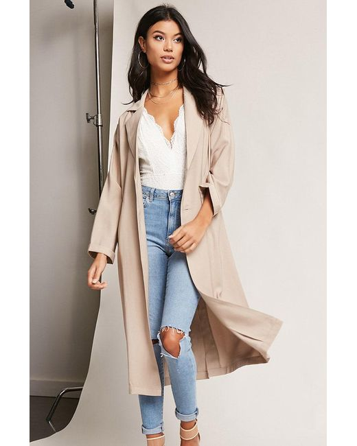 Forever 21 | Natural Oversized Single-breasted Trench Coat | Lyst