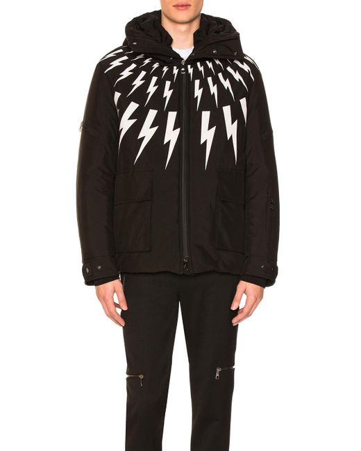 Neil barrett Fairisle Bolt Ski Jacket in Black for Men | Lyst