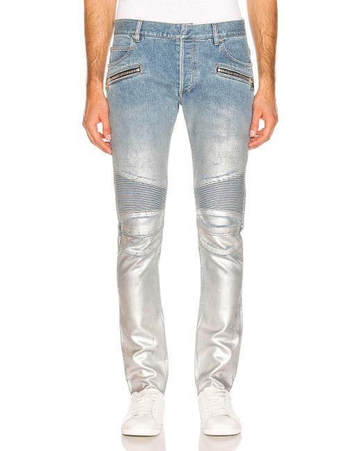 291465c6 Balmain - Blue Slim Ribbed Zip Pocket Jean for Men - Lyst ...