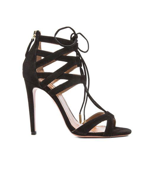 Aquazzura   Black Beverly Hills Suede Sandals   Lyst