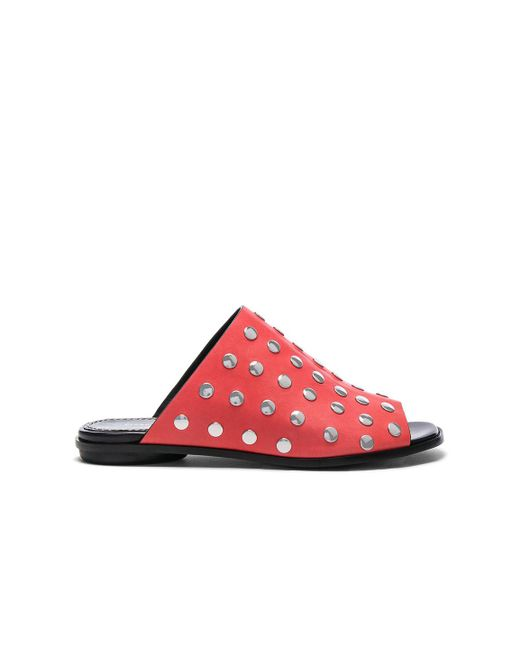 Proenza Schouler | Red Studded Leather Sandals | Lyst