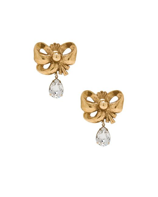 Rodarte - Metallic Bow Earrings With Teardrop Swarovski Detail - Lyst