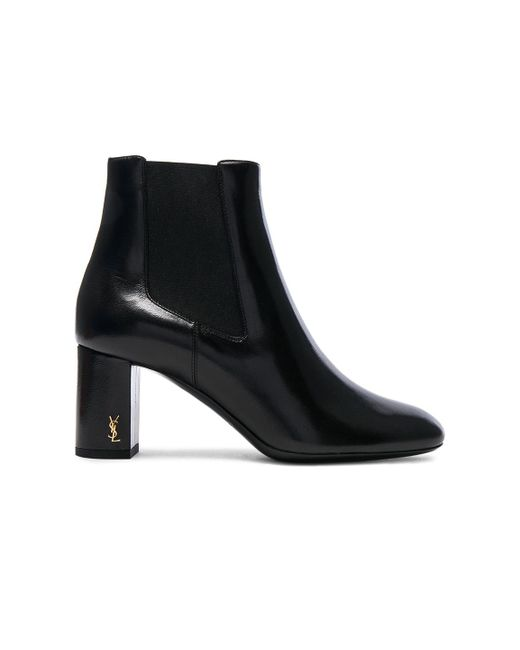 Saint Laurent - Black Leather Loulou Pin Boots - Lyst