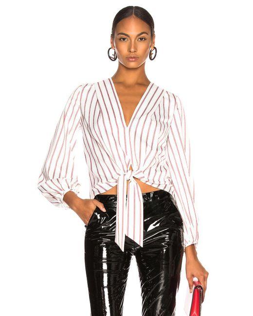 Nicholas - White Stripe Tie Front Blouse - Lyst
