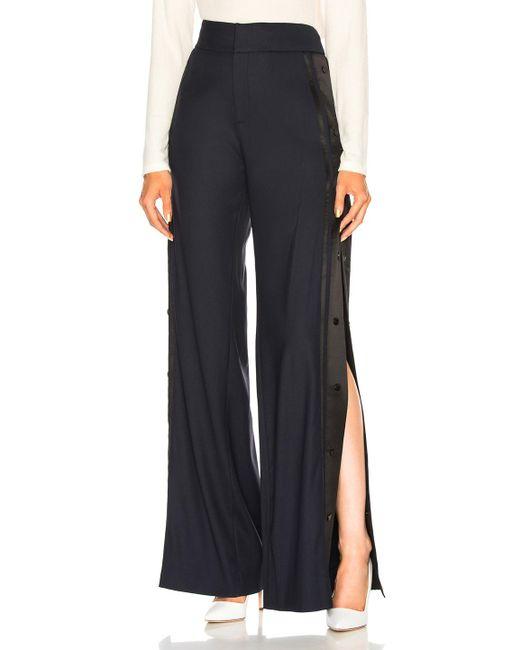 Monse - Blue High Waist Wide Leg Side Snap Trouser Pant - Lyst