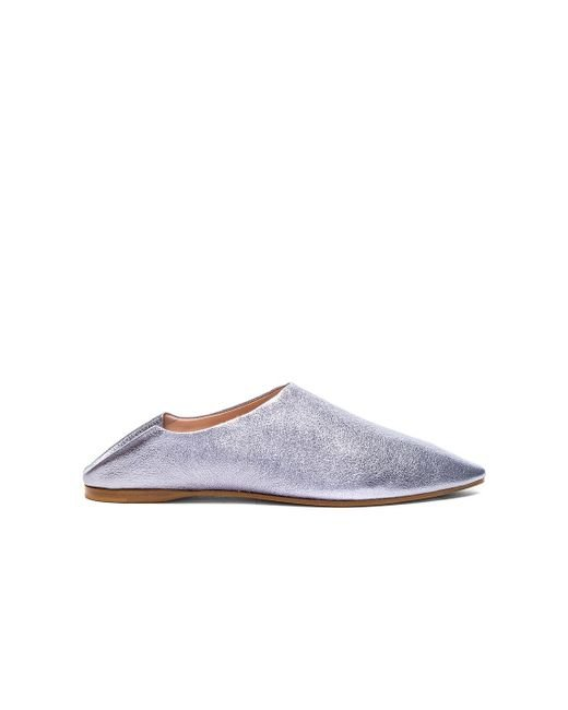 Acne | Gray Leather Amina Space Flats | Lyst