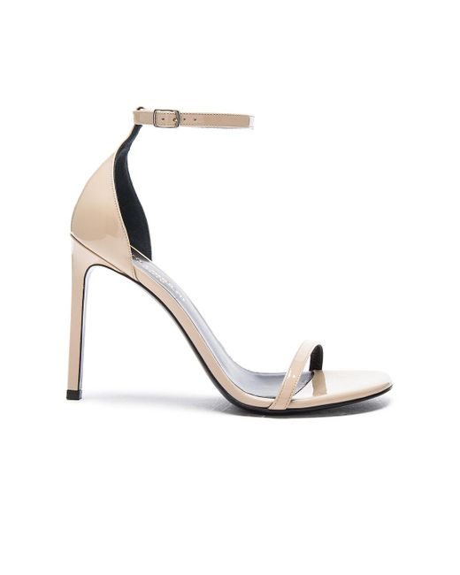 Saint Laurent | Natural Patent Leather Jane Sandals | Lyst