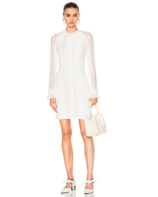 3.1 Phillip Lim | White Long Sleeve Pointelle Lace Dress | Lyst