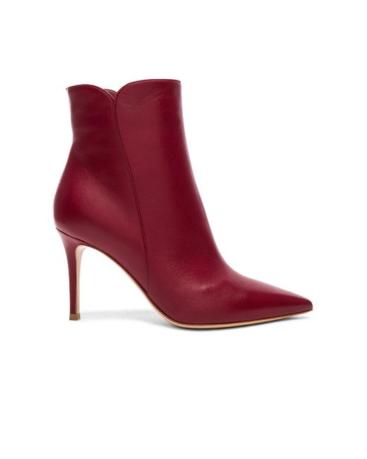 Gianvito Rossi - Red Leather Levy Ankle Boots - Lyst