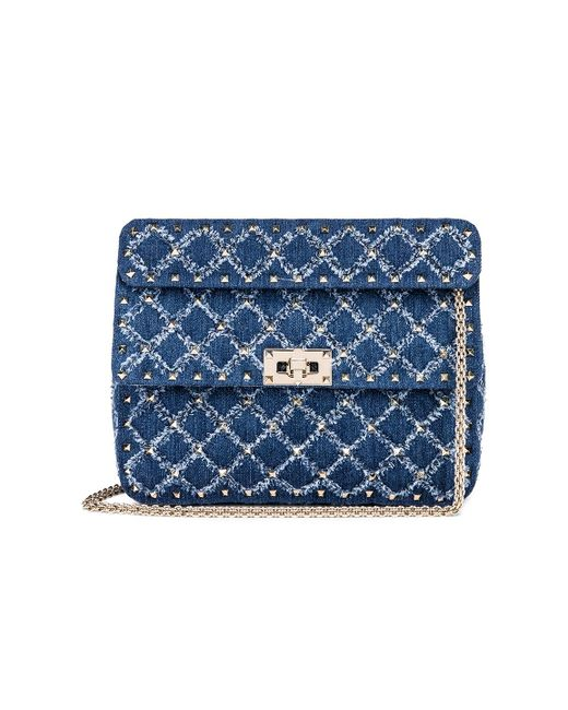 830bbf5b5153 Valentino - Blue Rockstud Spike Medium Shoulder Bag - Lyst ...