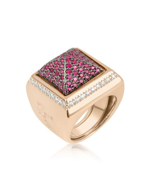 Azhar - Pink Cubic Zirconia Square Ring - Lyst