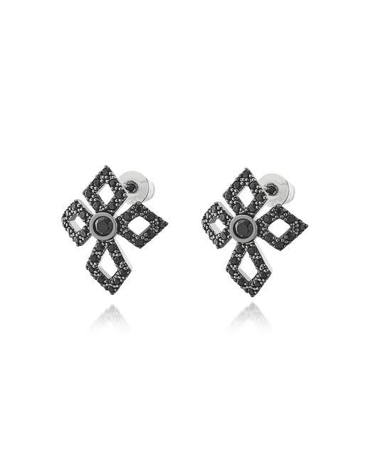 FEDERICA TOSI - Black Sterling Silver Lobo Cross Earrings W/crystals - Lyst
