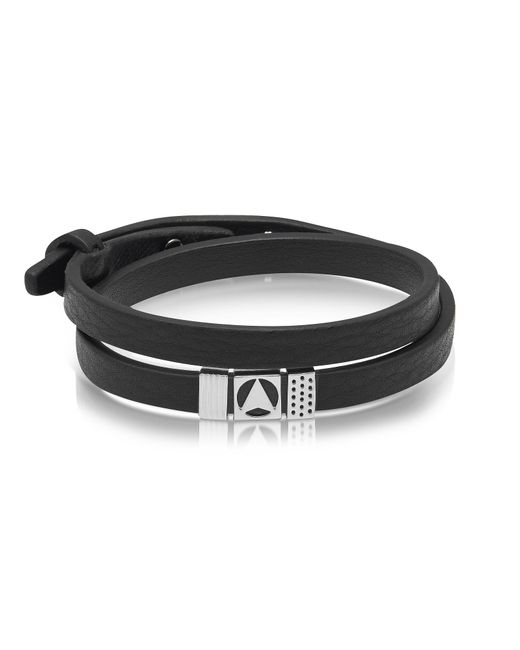 Northskull - Insignia Black And Silver Double Wrap Bracelet for Men - Lyst