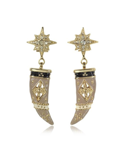 Roberto Cavalli | Metallic Gold-tone Brass Enamel And Crystals Horn Earrings | Lyst