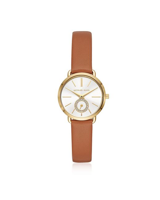 Michael Kors - Metallic Women's Gold-tone And Luggage Leather Portia Watch - Lyst