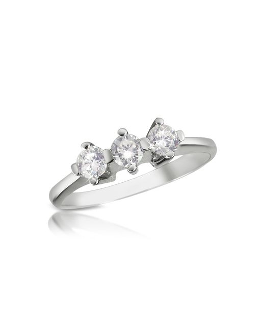 Forzieri - White 0.29 Ct Three-stone Diamond 18k Gold Ring - Lyst