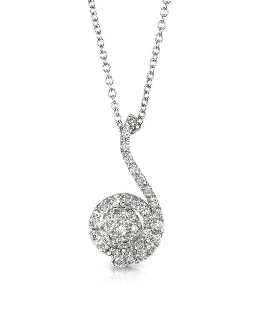 Forzieri - 0.34 Ctw Diamond Pave 18k White Gold Pendant Necklace - Lyst
