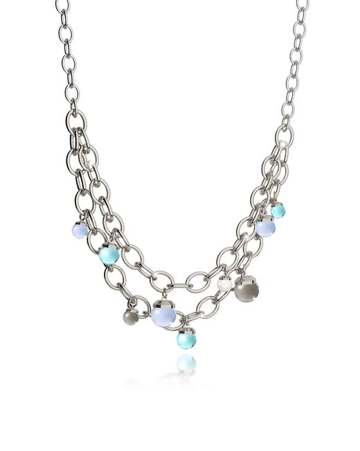 Rebecca - Metallic Hollywood Stone Rhodium Over Bronze Chains Necklace W/hidrothermal Stones - Lyst
