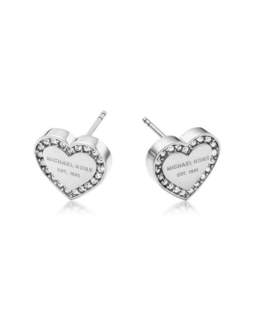 Michael Kors | Metallic Heritage Stainless Heart Earrings W/crystals | Lyst