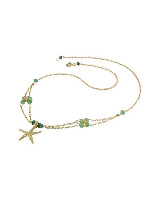 Forzieri - Metallic Starfish Pendant Emerald & 18k Yellow Gold Necklace - Lyst