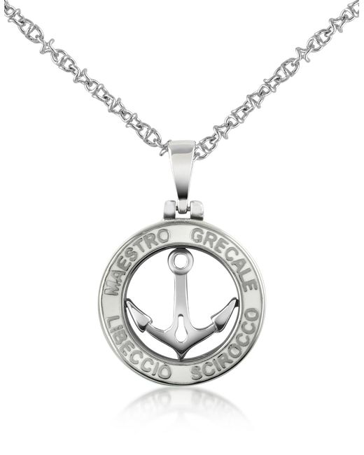 Forzieri - Metallic Stainless Steel Anchor Pendant Necklace - Lyst