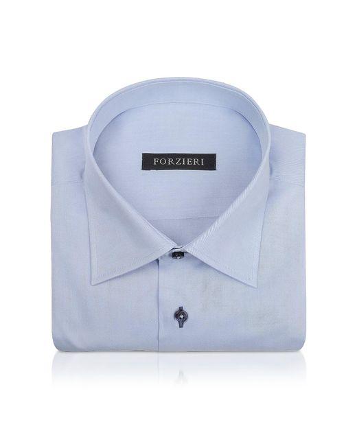 Forzieri - Blue Twill Dress Shirt for Men - Lyst