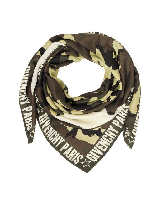 Givenchy - Green Camouflage Stars Printed Wool And Silk Wrap - Lyst