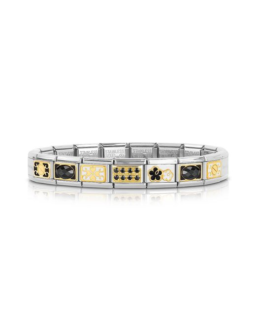 Nomination - Metallic Classic Elegance Gold And Stainless Steel Bracelet W/black Gemstone - Lyst