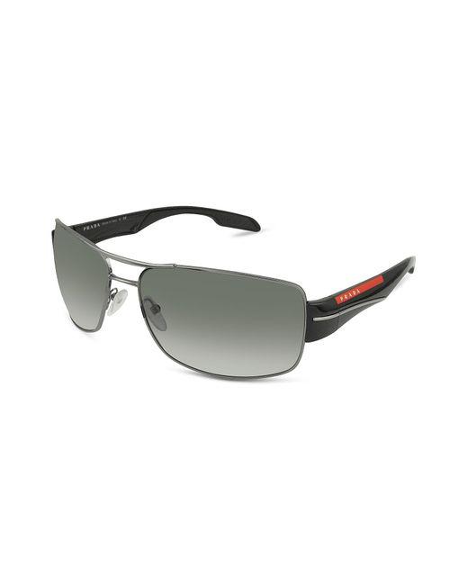 Prada - Gray Rectangle Metal Frame Sunglasses - Lyst