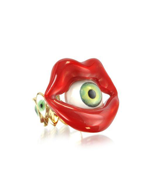 Bernard Delettrez - Red Bronze Mouth Ring With Eye - Lyst