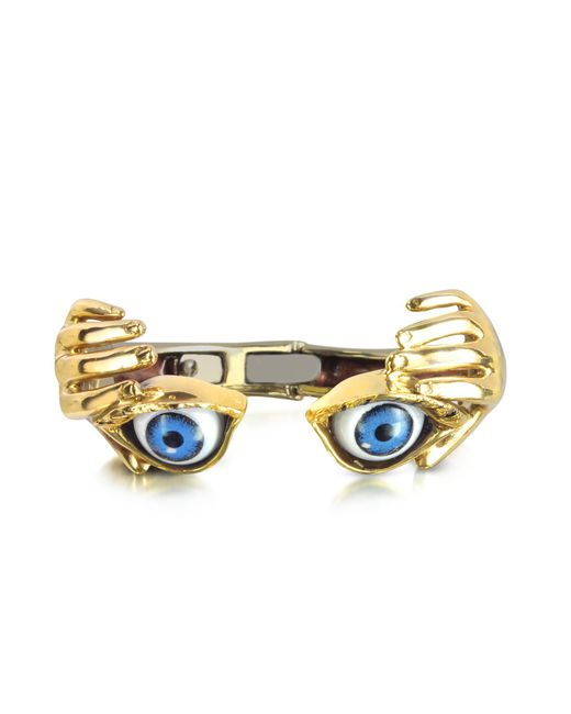 Bernard Delettrez - Metallic Bronze Hand Stiff Bracelet With Eye - Lyst