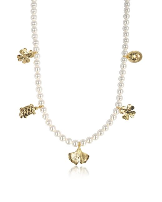 Aurelie Bidermann | White Cheyne Walk Long Necklace W/glass Pearls And 18k Gold-plated Charms | Lyst