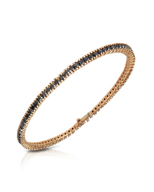 Forzieri - Metallic Black Diamond Eternity 18k Gold Tennis Bracelet - Lyst
