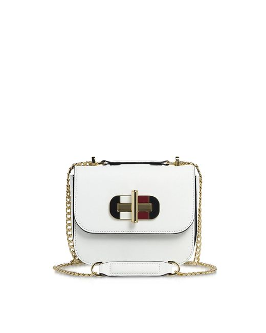 bad6bc258ee1 Tommy Hilfiger Small Cross-grain Leather Shoulder Bag in White ...