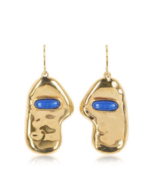 Aurelie Bidermann | Metallic Peggy 18k Gold-plated Earrings W/lapis Lazuli Stone | Lyst