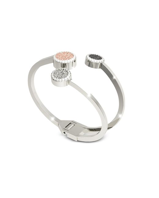 Rebecca | Metallic R-zero Rhodium Over Bronze Cuff Bracelet W/three Tones Stones | Lyst
