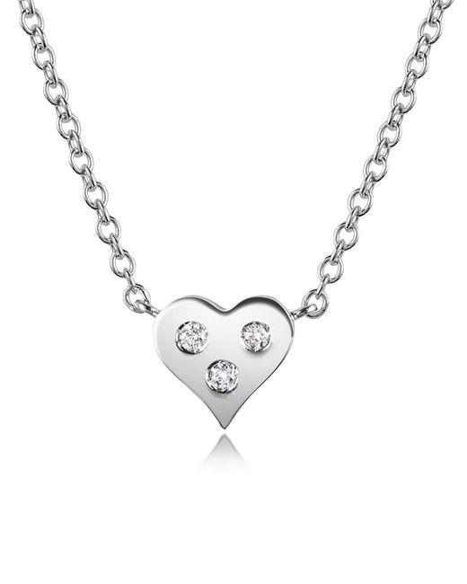 Forzieri - White 0.05 Ct Diamond Heart Pendant Necklace - Lyst