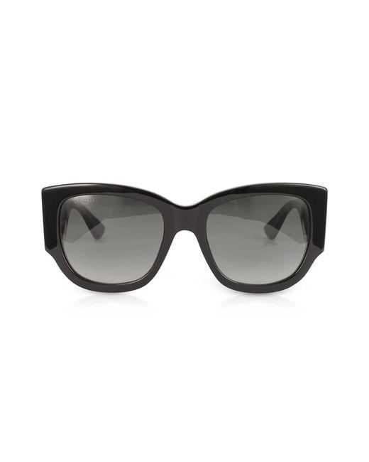 3bcacf7b35 Gucci - GG0276S Black Oversize Cat Eye Acetate Sunglasses W sylvie Web  Temples - Lyst