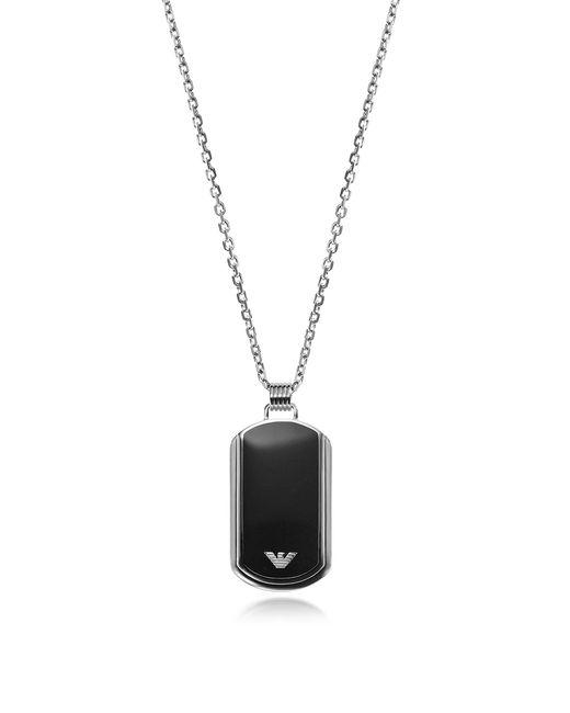 Emporio Armani - Metallic Iconic Stainless Steel W/black Enamel Charm for Men - Lyst