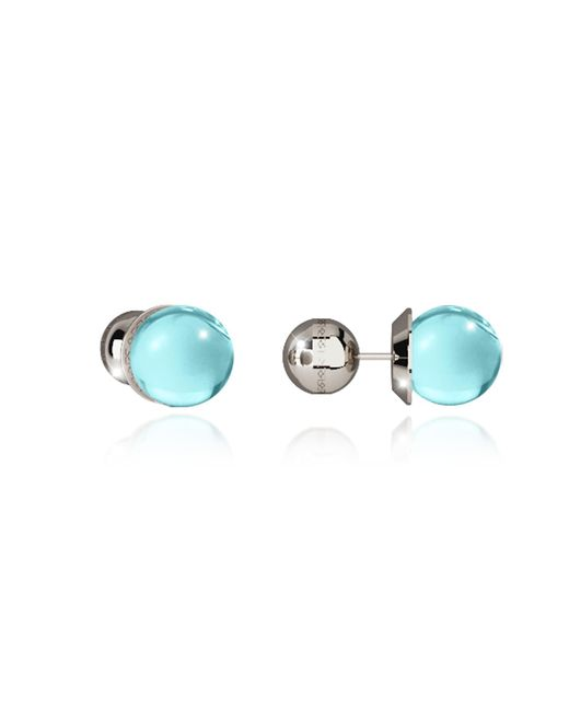 Rebecca | Blue Boulevard Stone Rhodium Over Bronze Stud Earrings W/turquoise Hydrothermal Stone | Lyst