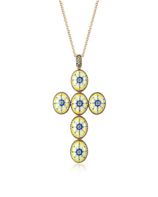 Azhar - Metallic Capri Silver Zircon And Enamel Cross Necklace - Lyst