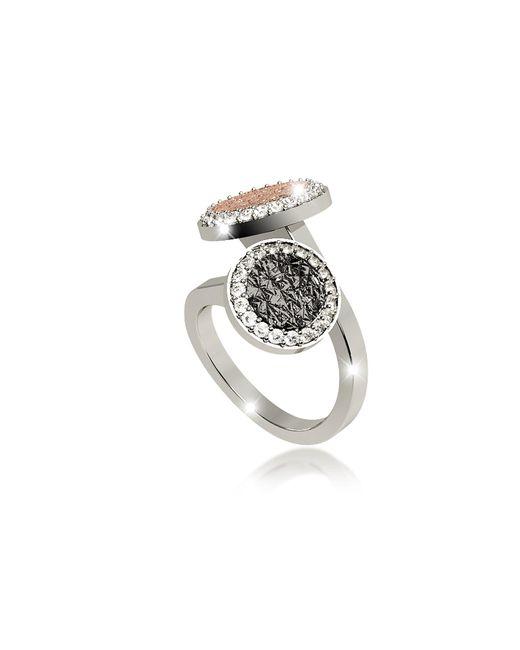 Rebecca | Metallic R-zero Rhodium Over Bronze Ring W/two Tones Stones | Lyst