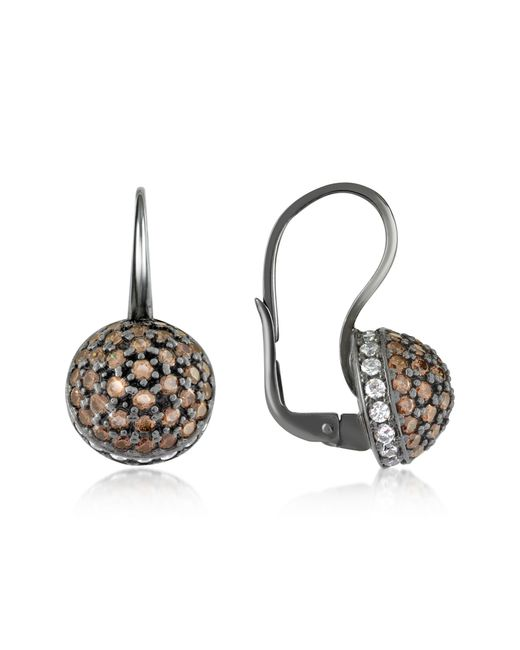 Azhar | Brown Cubic Zirconia And Sterling Silver Round Earrings | Lyst