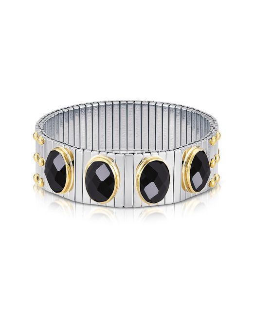 Nomination | Metallic Four Black Cubic Zirconia Stainless Steel W/golden Studs Women's Bracelet | Lyst