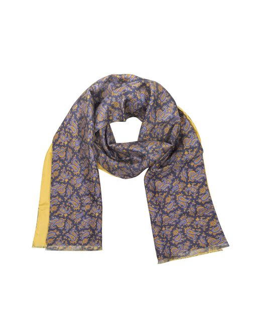 Forzieri | Blue Maxi Paisley Print Silk Reversible Men's Scarf for Men | Lyst