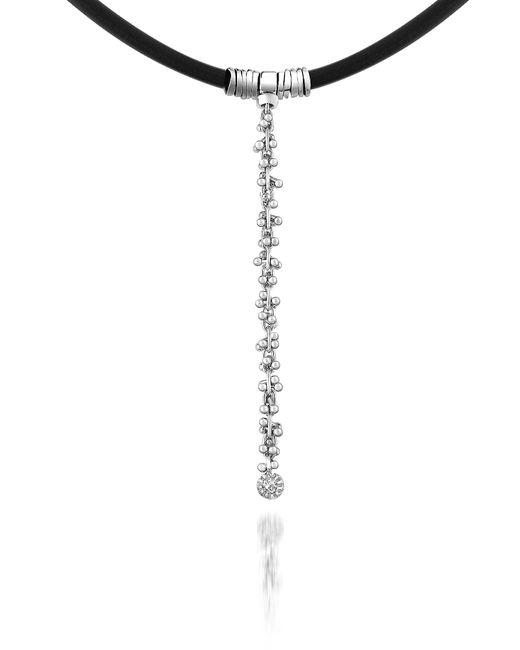 Orlando Orlandini - Metallic Flirt - Diamond Drop 18k White Gold And Rubber Necklace - Lyst