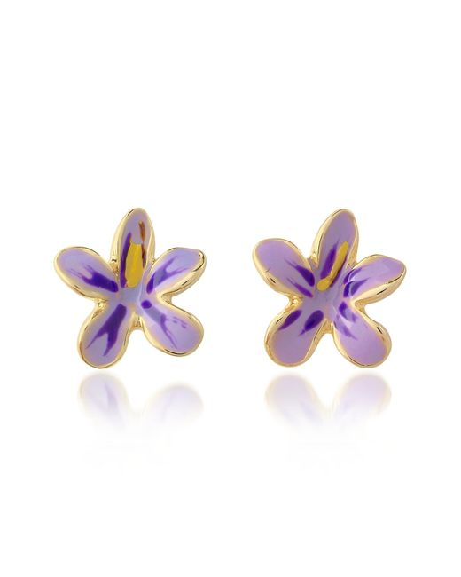 AZ Collection | Garden Line - Purple Enamel Flower Earrings | Lyst