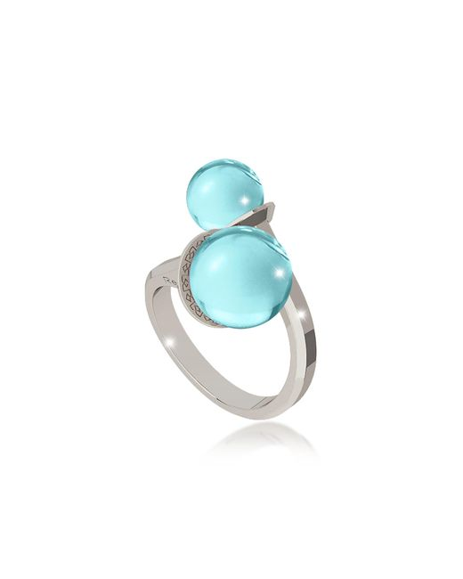 Rebecca | Blue Boulevard Stone Rhodium Over Bronze Contrarié Ring W/hydrothermal Turquoise Stones | Lyst